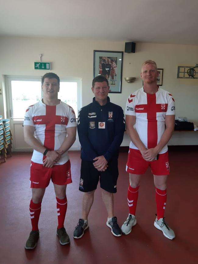 Left to right, Latchford Albion trio Phil Woollacott, Martyn Ellis and Daniel Brown in their England Lionhearts kit