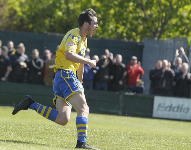 Ben Garrity wheels away after scoring against King's Lynn Town in last season's 'super play-off' Picture by Mike Boden