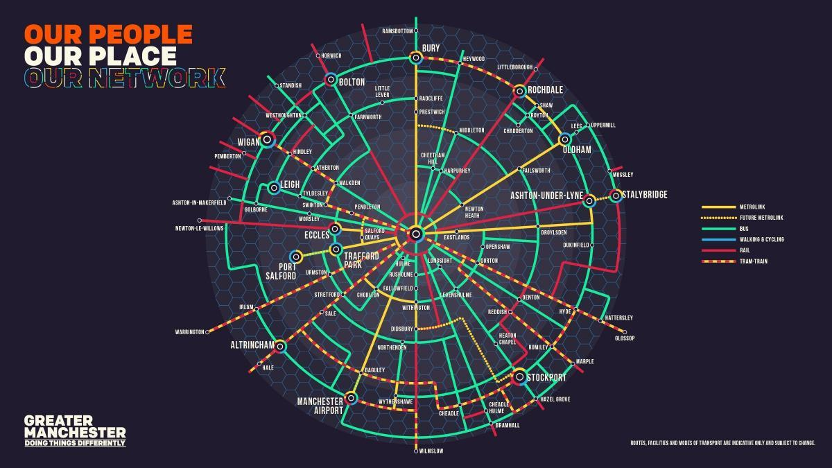 'Tube map for Greater Manchester' plan includes tram-train to Warrington