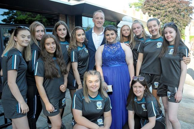 Warrington Wolves player Jason Clark posed for pictures before the Cardinal Newman prom