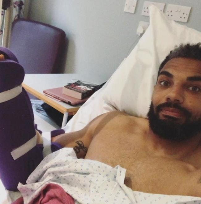 Ryan Atkins after his operation
