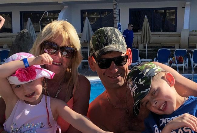 Helen Forshaw with her family during their ill-fated New Year holiday in Gran Canaria.