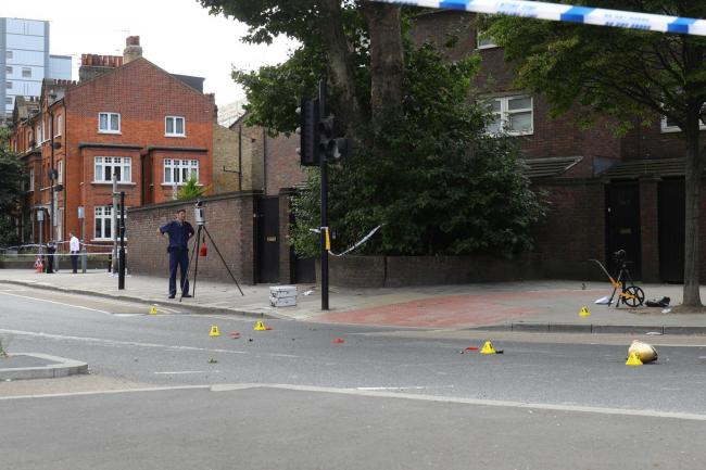 The scene in Battersea where a woman has died after being struck by a lorry while riding a scooter