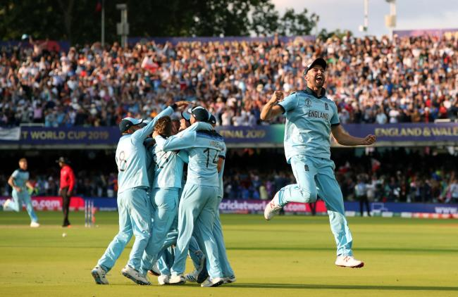 England celebrate their dramatic Cricket World Cup final victory over New Zealand. Picture by Nick Potts/PA Wire