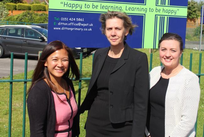 Denise Lee, chair of governors at Ditton Primary School, Louise Smith, CEO of Warrington Primary Academy Trust and Emma Fenton, interim head teacher at Ditton Primary School)