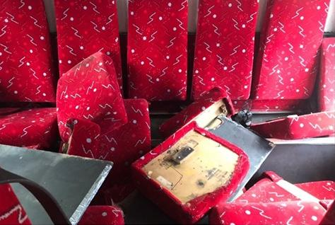A bus' seats were ripped up and windows smashed after the break-in at Tansey's Coaches.