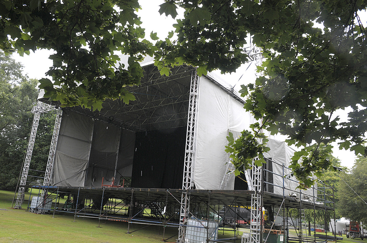 First look at the outdoor stage for Jools Holland at Walton Hall