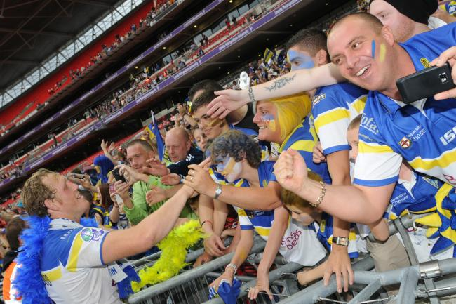 Super Bennie Westwood thanks the fans for their support after beating Leeds Rhinos in the 2010 Challenge Cup Final at Wembley in 2010. Picture: Mike Boden