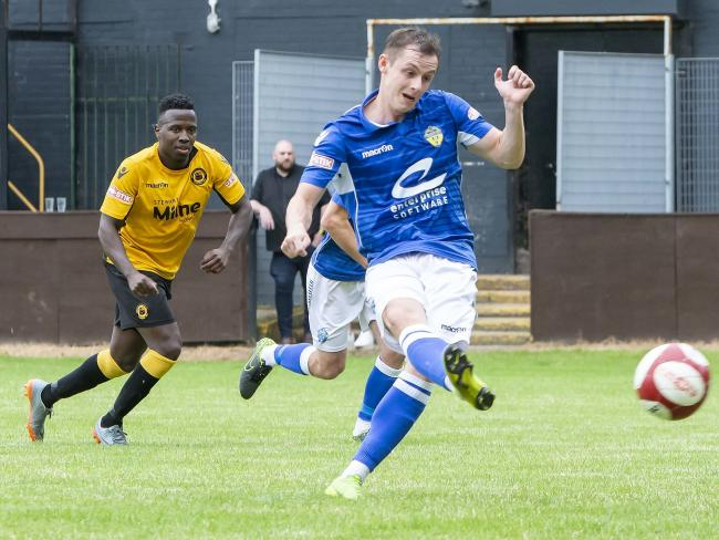 Alex Byrne scores against Prescot Cables - one of six goals he has netted in pre-season. Picture by John Hopkins
