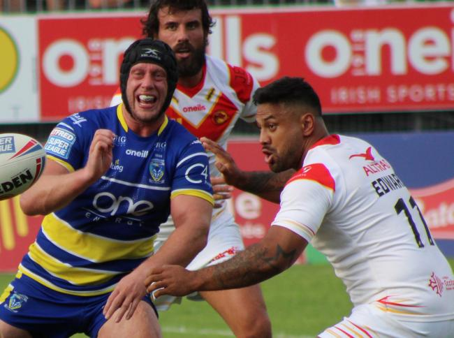Kenny Edwards, right, playing against Warrington on Saturday