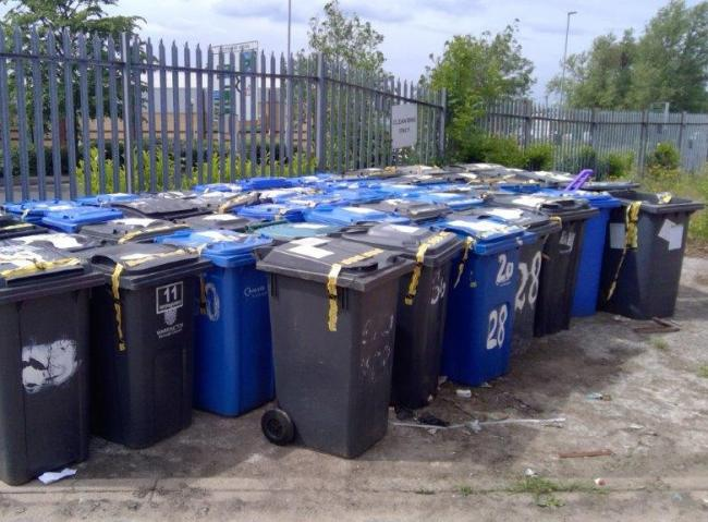 Some of the bins removed by the council as part of the new trial scheme.