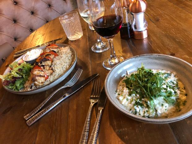 Warrington Guardian: The chicken kebab and herb rice and spinach and feta risotto