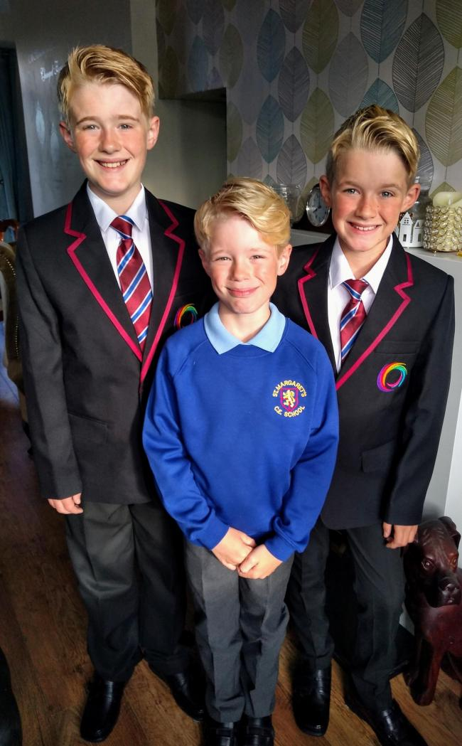 Harrison from St Margaret's Juniors is going to miss his Twin big brothers Alfie & Jayden as they move up to Beaumont High School