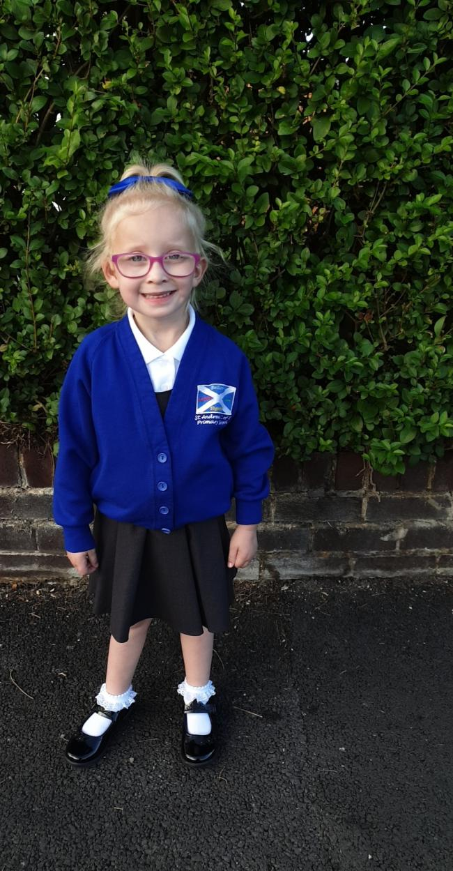 Rhia-Mae first day in st Andrew's primary school.