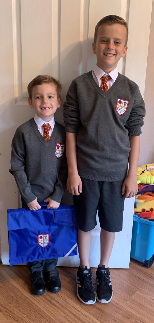First day in reception & year 5 for my boys