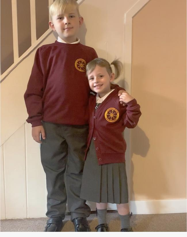 Riley ready for year 5 and little sister Grae (gray) ready for Reception