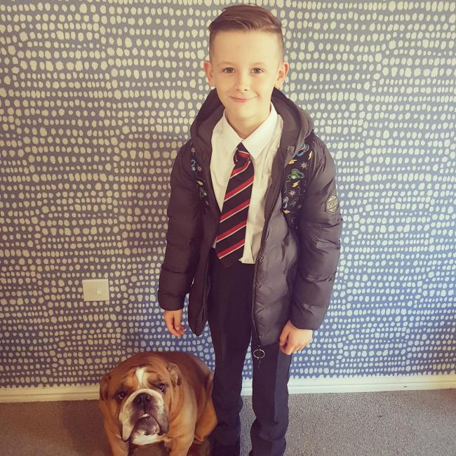 Noah Inman on his first day in Year 5. His Yogie Bear is not happy about being ditched!!