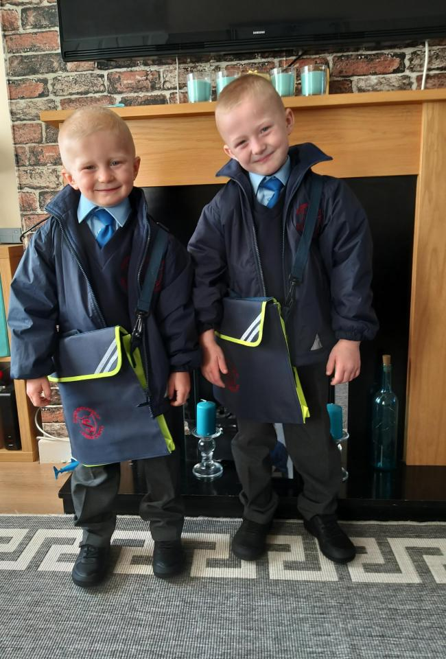 Mason & Harrison Olsson St.Stephens Catholic primary school Masons 1st day back to year 1 and Harrison 1st day at big school in reception class