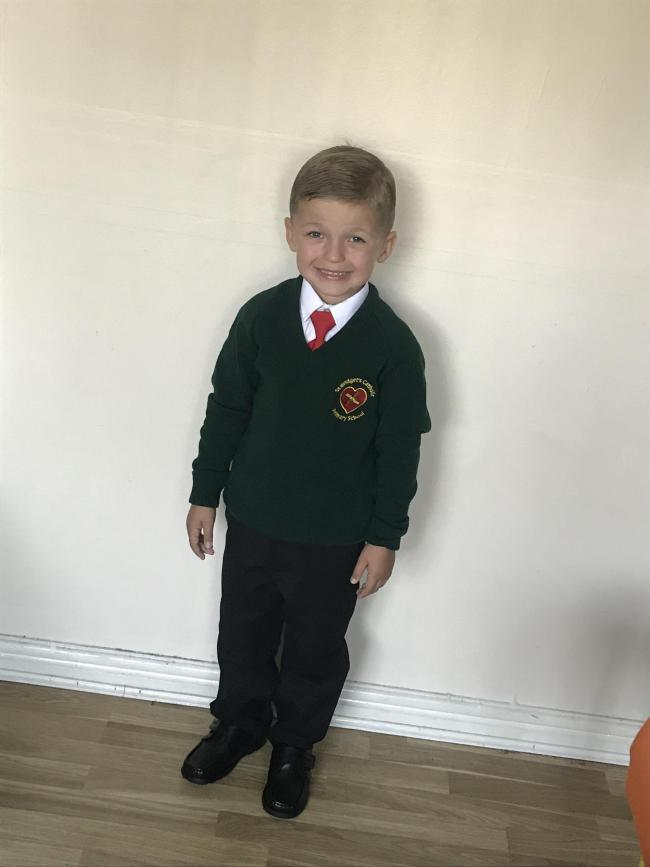 Kai's first day in year one st Bridget's ❤️