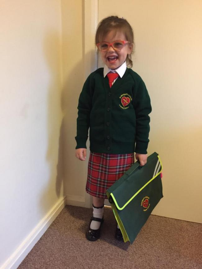 Alana Thornbury starting in reception class at St. Bridget's Catholic Primary.