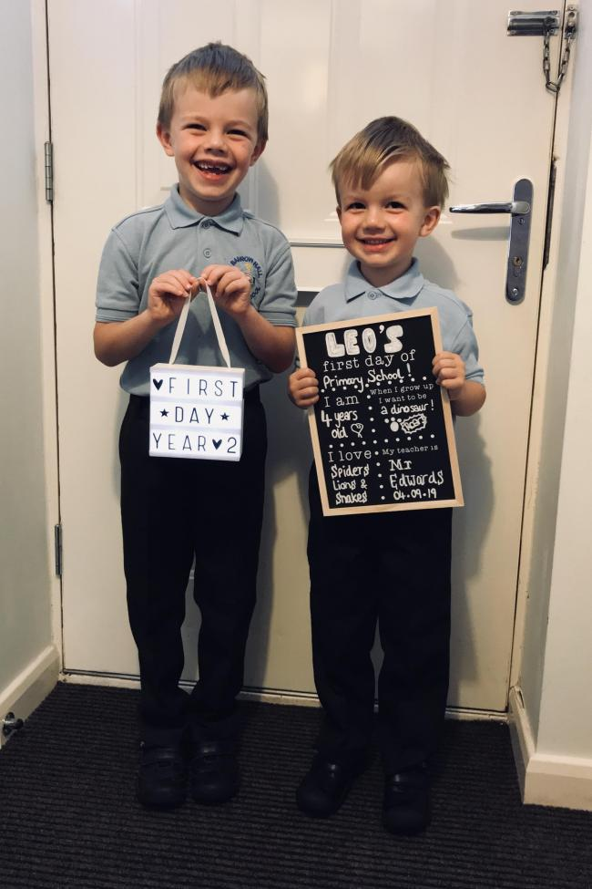 Leo's first day at Barrow Hall school, Oscar going into year 2!