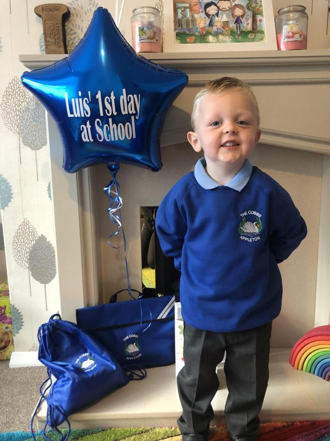 Luis starting reception class in Cobbs Infant School