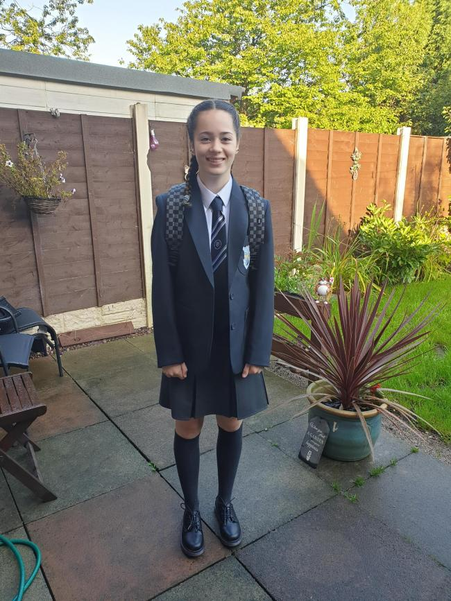 Poppy Chadwick, age 11. First day of high school, year 7.