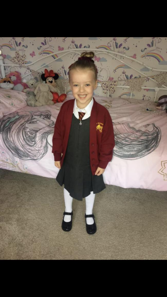 Olivia Mather first day at school. St Peters.