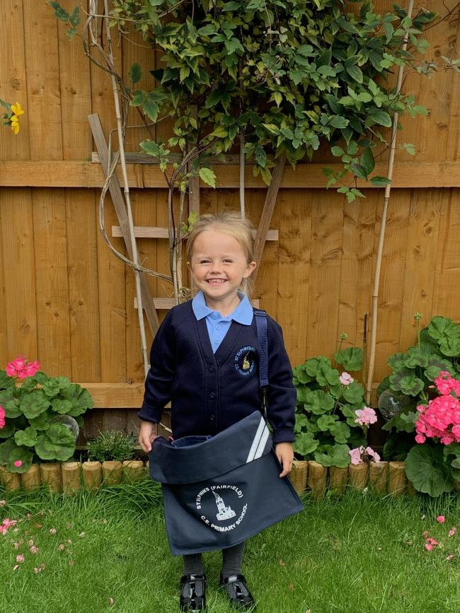 My little girl Jessica's 1st day at Reception. St Elphins Primary