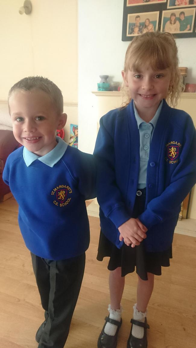 Isabel aged 7 starting year 3 Oliver aged 4 starting reception