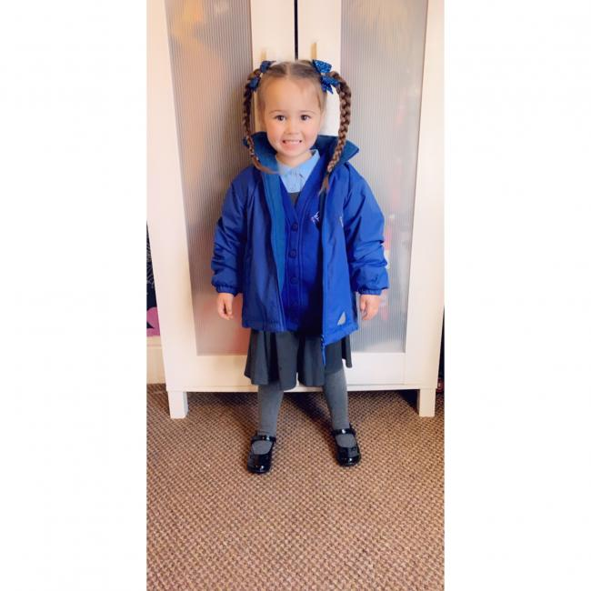 Esmae-Rose Aged 3 Attending St Ann's Nursery Looking Rather Cute In Her Full Uniform