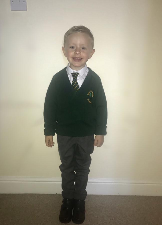Jacob Acton In his first day of reception at Oakwood Avenue Primary School.