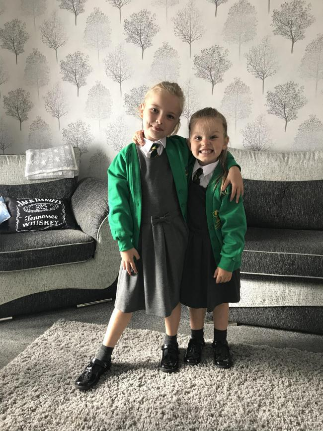 Faith and Gracie-mai yates Locking stumps primary school. First day in reception for Gracie and year 2 for faith