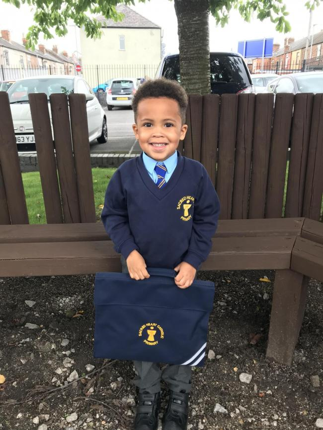 Jonah's 1st day in reception at Sacred Heart Catholic Primary School.