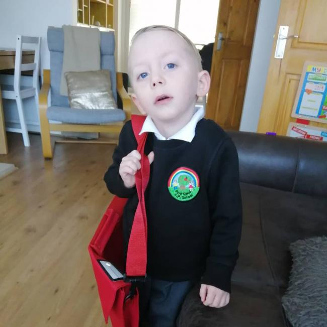 Joseph's first day at, Park road community primary school, aged 4.