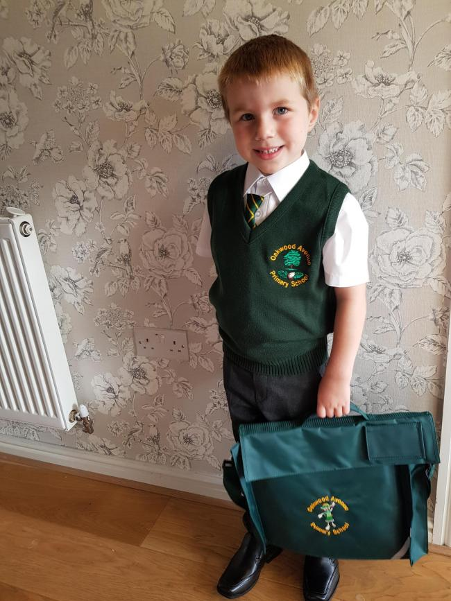 Max Helsby aged 4. First day at reception at Oakwood Avenue