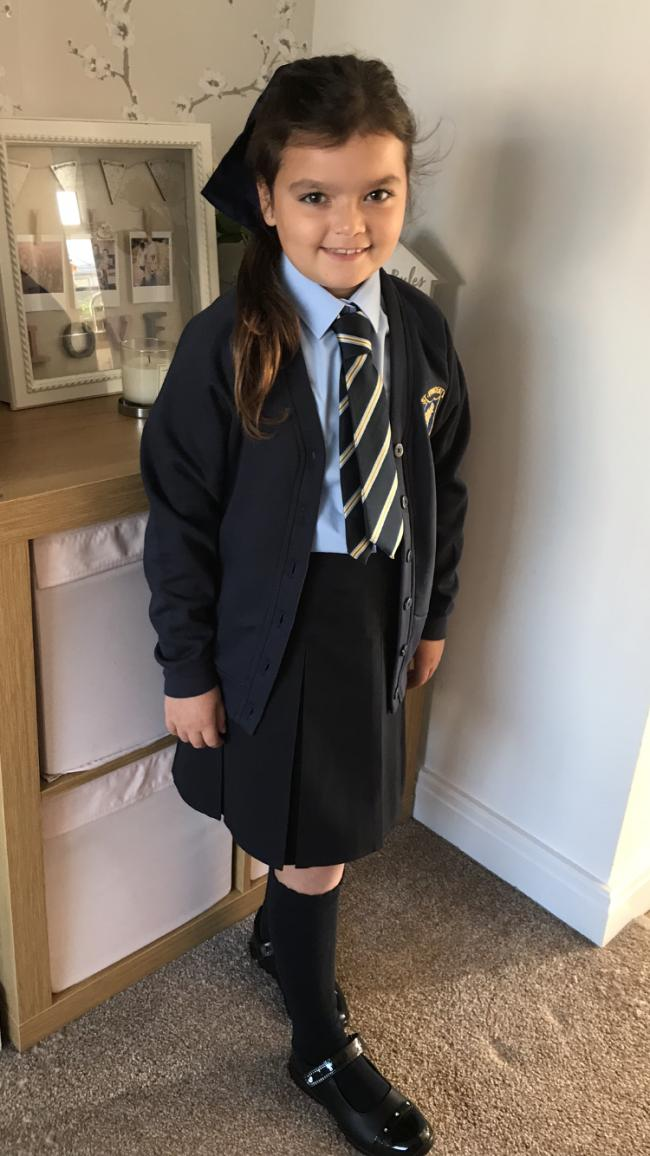 Ava-Rose Griffiths, age 7. Her first day in juniors at St Vincent's School.