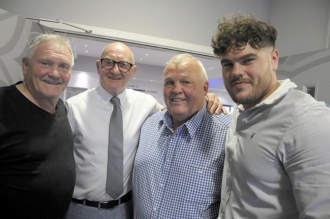 Les Boyd meets, from left, Wire 1974 Challenge Cup winners Mike Nicholas and 2019 cup victor Joe Philbin. Picture: Mike Boden