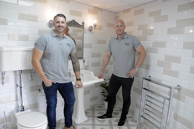 Warrington Wolves co-captain Chris Hill and business partner Christian Froggatt at the opening of Immerse Bathroom and Tile Showroom.