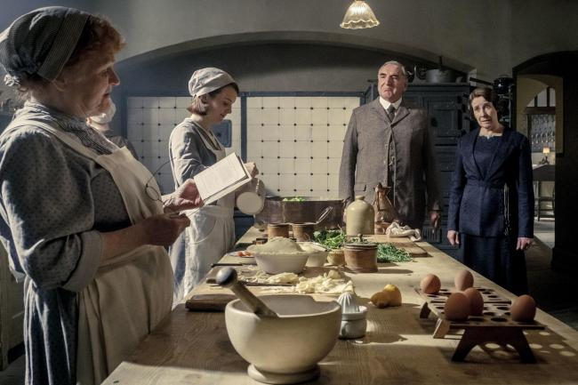 Lesley Nicol as Mrs Patmore, Sophie McShera as Daisy Mason, Jim Carter as Charles Carson and Phyllis Logan as Mrs Hughes