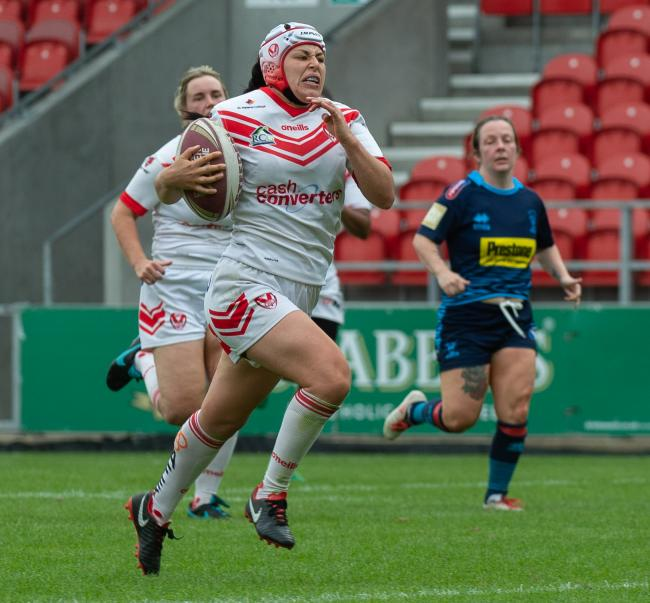 Emily Rudge in action against Wigan Warriors Women. Picture by Bernard Platt