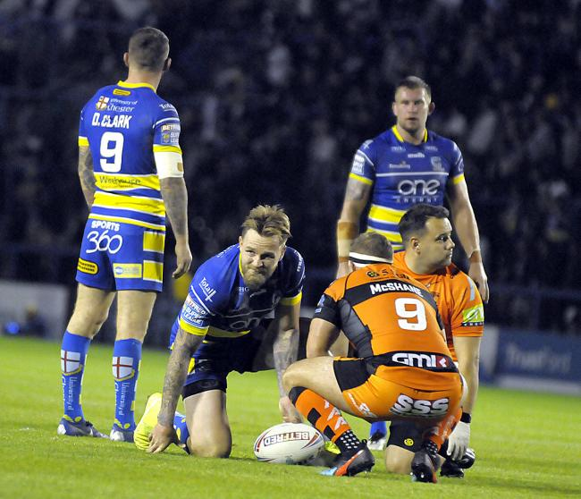 Blake Austin is treated on the field against Castleford. Picture by Mike Boden