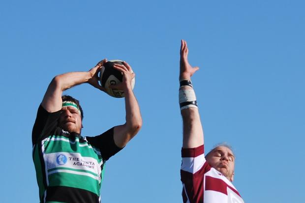 Adm Bray, left, in action for Lymm