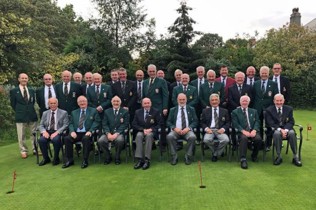 Warrington Golf Club captain and retired Sky Sports rugby league commentator Eddie Hemmings, back row in the maroon blazer, with his fellow North Cheshire Golf Captains