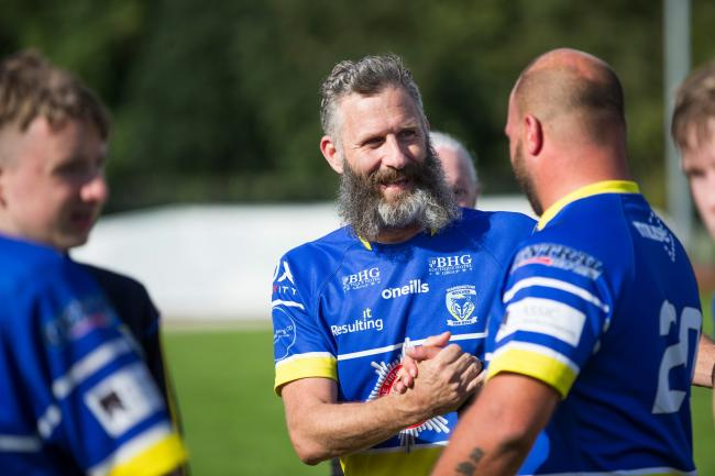 Warrington Wolves PDRL team captain Adam Hills, comedian and host of Channel 4's the Last Leg.