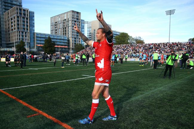 Fijian international Ashton Sims, the ex-Warrington Wolves prop who still lives in Warrington, bowed out of 17 years as a rugby league professional with a Million Pound Game win for Toronto Wolfpack at Lamport Stadium in Toronto. Picture: SWpix