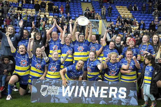 Warrington Wolves Women lift the Championship League Leaders' Shield. Picture by Mike Boden