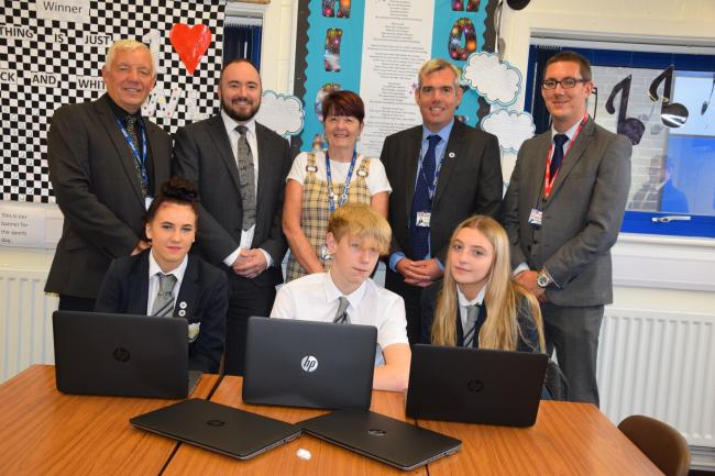 Birchwood students and staff with Scott Robertson and Stephen Barnard from WS Transportation and Jimmy Bannister from Concise Technologies