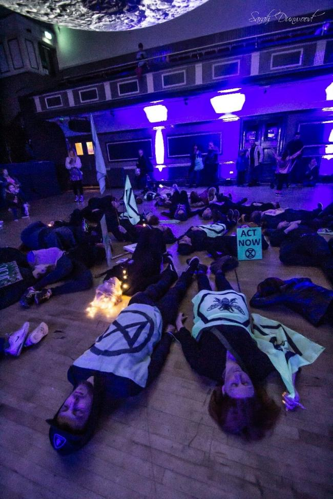 Warrington Extinction Rebellion protesters at the Museum of the Moon exhibition at the Parr Hall.