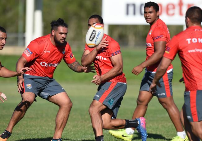 Ben Murdoch-Masila in training with Tonga during the 2017 Rugby League World Cup. Picture by NRLPhotos